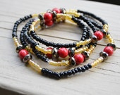 WRAP BRACELET NECKLACE Black Gold Red Seed Bead Bracelet or Long Necklace