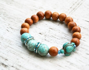 TURQUOISE Howlite and Wood Bead Turtle Bracelet with Teal Rhinestones