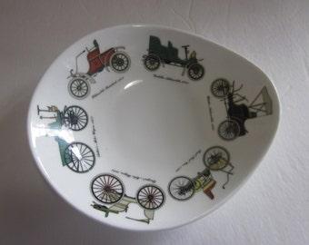 stafforshire dish, antique cars, change dish, candy dish,