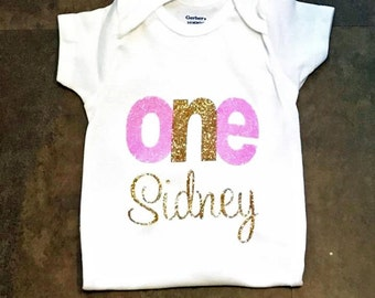 Personalized First Birthday Onesie-Gold Glitter-Girls Birthday Shirt-Glittere Onesie