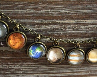 """Necklace vintage style chain """"The Solar System Planets"""""""
