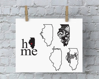 Illinois Home SVG - Chicago SVG Files - State Pride - DIY Crafts - Illinois State - State Pride