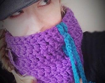 Chunky Crochet Purple and Teal Neck Warmer!
