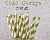 CLEARANCE SALE - 25 Gold Paper Straws -Striped Gold Straws - Wedding Birthday Anniversary Shower Party Striped Straws