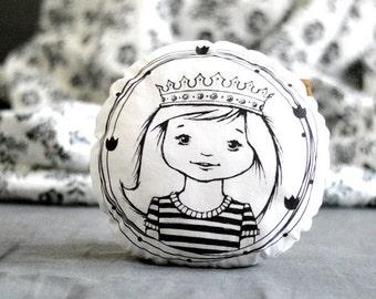 Stuffed pillow with PRINCESS Decorative round pillow Nursery decor Illustrated cushion Black white Scandinavian style