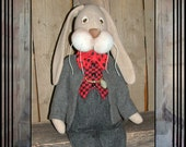 Tall Primitive Ecru beige wool Spring Easter rag doll rabbit vest bow tie pocket watch HAFAIR OFG FAAP