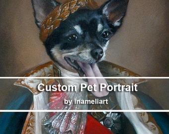 Acrylic custom pet portrait, original acrylic painting whimsical dog cat animal pet lover painting handmade wall art gift