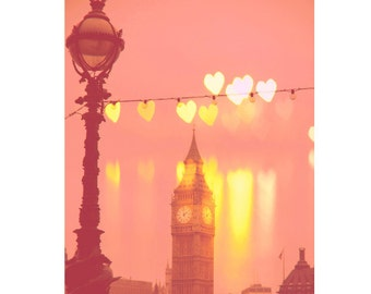 "London print, Big Ben photo, pastel photography, Fine Art Photography, London photography - ""Night Rainbow"""