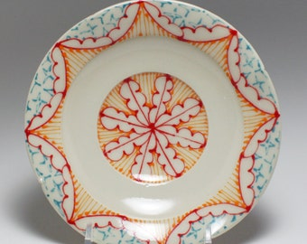 Small Wheel Thrown Handmade Ceramic Dessert Plate with Red, Orange and Turquoise Pattern