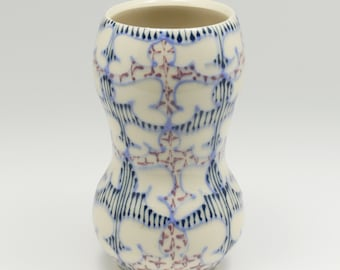 Ceramic Handmade Small Vase - with Sky Blue, Purple and Navy Pattern