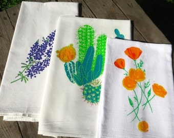 Cactus and Flowers Set of 3 Flour Sack Towels