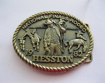 Hesston Company National Finals Rodeo 1979 Belt Buckle. free US shipping  - FL