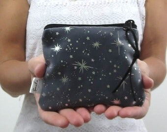 coin purse in black with princess sparkle. design your own small purse choose zipper color and suede zip pull. Party favor.