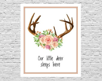 Our Little Deer Sleeps Here, 8x10, Watercolor Deer Antlers & Flowers, Nursery Art, Baby Shower Gift, Baby's Room Wall Art, Instant Download