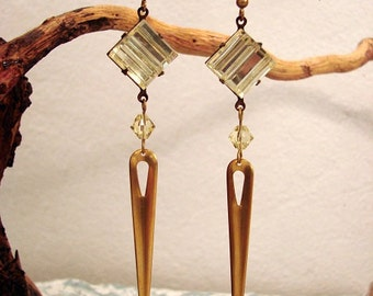 Vintage Pale Yellow and Brass Earrings