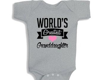 World's Greatest Granddaughter HEATHER Baby Girl Bodysuit