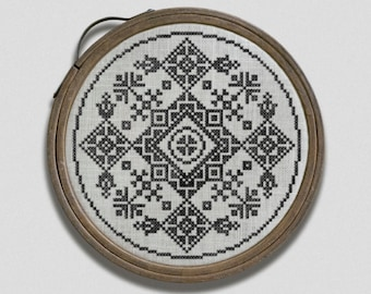 Folklore Hoop - Embroidery Art, counted cross stitch chart, PDF pattern booklet