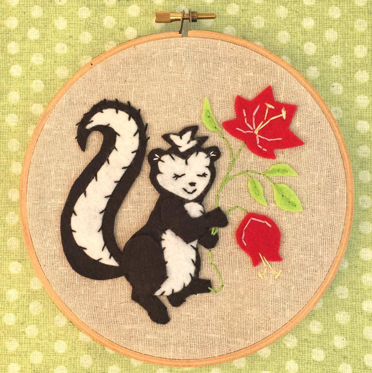 Skunk applique and embroidery kit felt