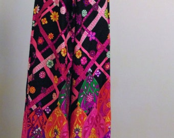 Vintage Late 1960s to Early 70s Pop Op Colorful Print Mod Palazzo Pants Alex Colman S to M
