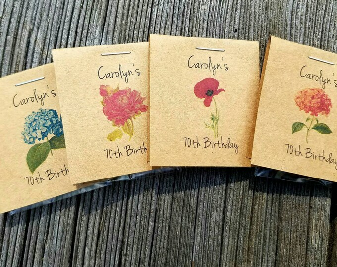 Personalized Red Poppy Blue Pink Hydrangea Rose MINI Seeds Let Love Grow Flower Seed Packet Favors Shabby Chic Rustic Cute Little Favors