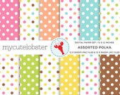 Assorted Polka Digital Paper Set - polka dot patterned paper, spot paper, dots - personal use, small commercial use, instant download