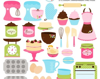 Retro Baking Clipart Set - cakes, apron, mixers, scales, oven, bowls, eggs, whisk - personal use, small commercial use, instant download