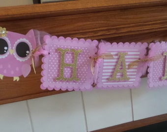 Gold Owl Banner, Pink and Gold Birthday Banner, Pink and Gold Owl Birthday Banner, Happy Birthday Banner Matching Pom Poms Available