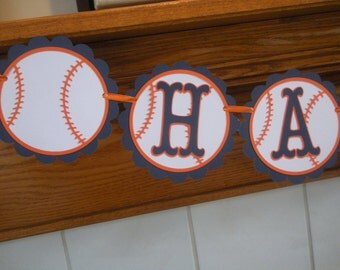 Baseball Birthday Banner, Baseball Sports Banner,  Baseball banner, You Choose Your Team Colors Matching Tissue Pom Poms Are Available
