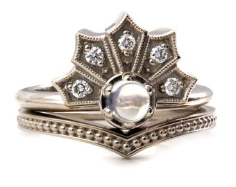 Gothic Victorian Crown Enagement Ring Set - Moonstone and Diamonds in White Gold with Millgrain Chevron Band
