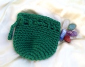 Healing Chakra stones with green crochet drawstring coin dice bag pouch purse sack