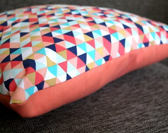 Colorful Triangle Pillow in Navy, Goldenrod, Salmon, and Pale Aqua
