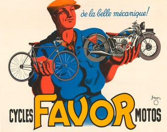 Favor Cycles Motos Bicycle Poster (#0207) 4 sizes