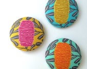 Banksia Brooch - Pinback Button (big!) - one each in Pink Blue and Yellow - Australian designed quality quilting fabric