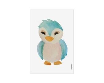 Print baby bird / Poster Bird / Nursery art / kids wall art / baby owl art / Poster Kids Room / Bird Illustration / Woodland Animal / Green
