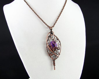 Wire Wrapped Pendant Jasper Necklace Amethyst Copper Necklace Wire Wrapped Jewelry Copper Pendant Copper Wire Necklace Dagger Copper Jewelry