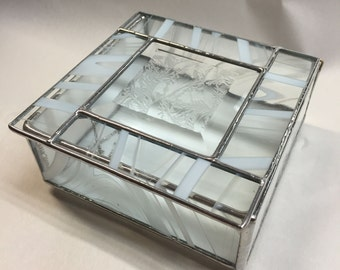 Contemporary Stained Glass Jewelry Box - Glue Chip Bevel (PLG063)