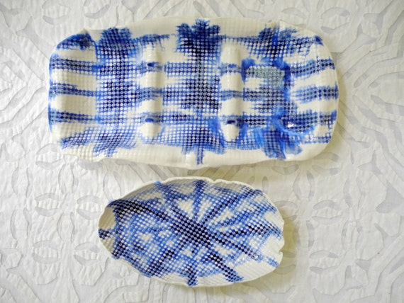 Shibori style ceramics, blue white porcelain, divided serving dish, oval bowl, tie dye, entertaining, nut dish, olive tray, serving dishes