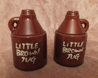 Vintage Little Brown Jug Redware Pottery Salt and Pepper Shakers Set