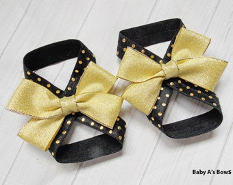 Black and Gold Barefoot Baby Sandal - Baby Sandal, Barefoot Sandal, Gold Baby Sandal, Gold Barefoot Sandal, Gold Baby Shoe, Newborn Shoe