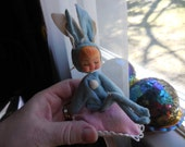 Vintage 1950s to 1960s Felt Bunny Rabbit on Pillow Ornament Easter Wired Plastic Face Doll