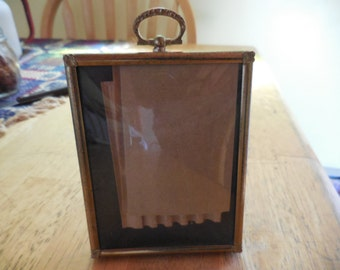 Vintage Gold Tone Small Picture/Photo Frame Vertical/Horizontal Loop on Top Metal 1950s to 1960s Convex Glass
