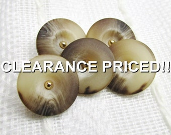 """CLEARANCE! Earth Tones: 5/8"""" (15mm) Variegated Tone Buttons with Gold Escutcheons - Set of 5 Matching New / Unused Buttons - Treasury Item"""