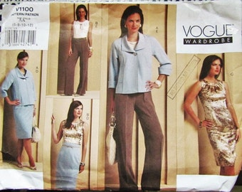 CHIC & ELEGANT VOGUE V1100 Wardrobe Sewing Pattern for 5 Pieces Coordinating  Sz 6-8-10-12