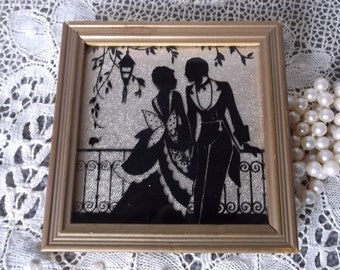 Vintage Miniature picture, Victorian couple in love, Foil sihouette, black and  gold foil