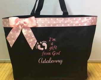 I'm a gift from God Personalized Diaper Bag Tote
