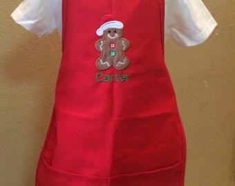 Red Christmas Holiday Apron Santa Gingerbread Man Boy Girls Kids