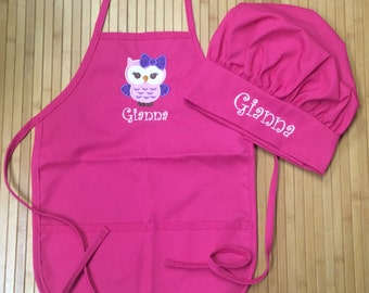 Personalized Kids Child Girls Kitchen Chef Hat Bakery Owl Apron Pink