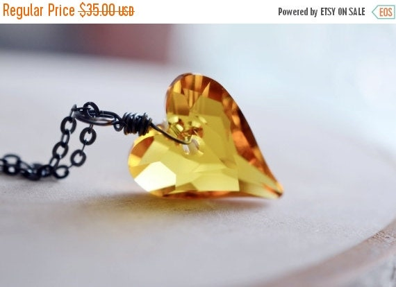 Wild Heart Pendant, Swarovski Heart Necklace, Oxidized Sterling Silver Necklace, Citrine Yellow Pendant, Valentine, Love Gift, Bridesmaid