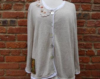 Linen Cardigan,Boho Sweater,Shabby Chic Sweater,Romantic Sweater,Nine Muses Of Crete