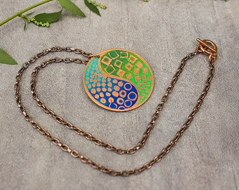 Ying Yang Copper Necklace Blue Green Etched Copper Necklace Copper Jewelry Zen Jewelry.